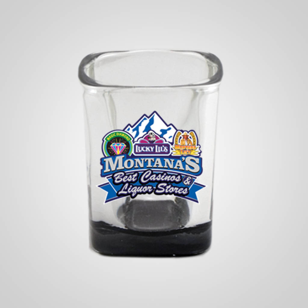19285PPM - Square Black Bottom Shot Glass - Multi - Color Print