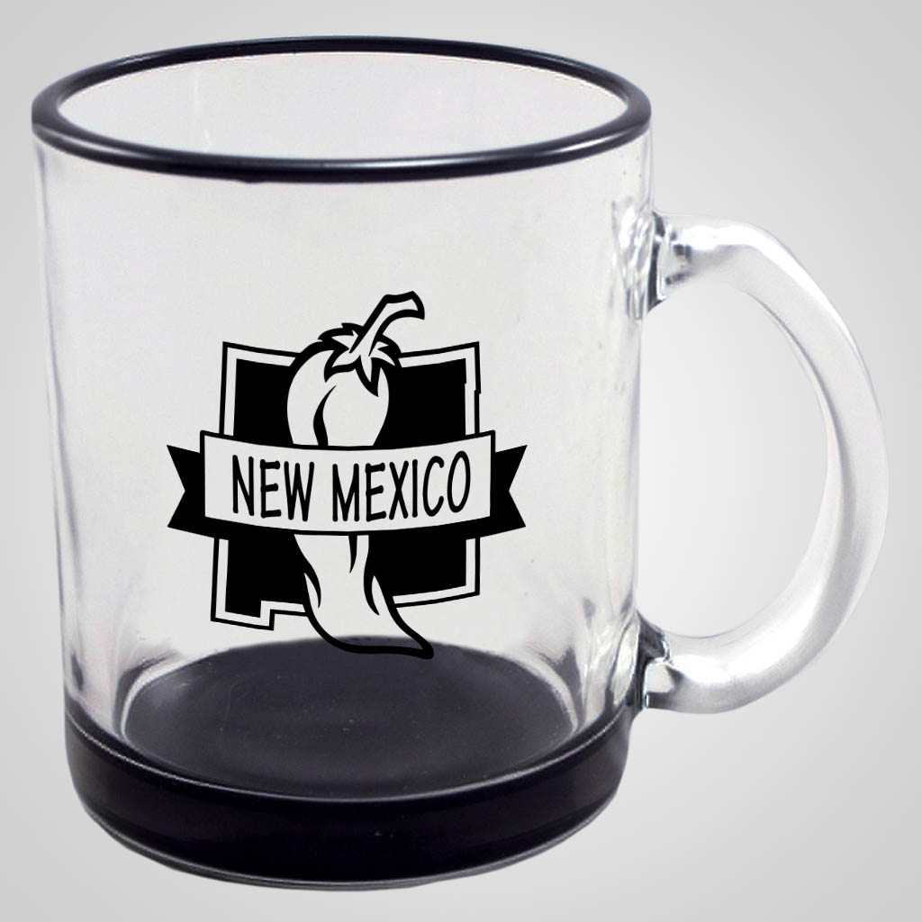 19288PP - Black Base & Rim Glass Mug, 1 Color Print