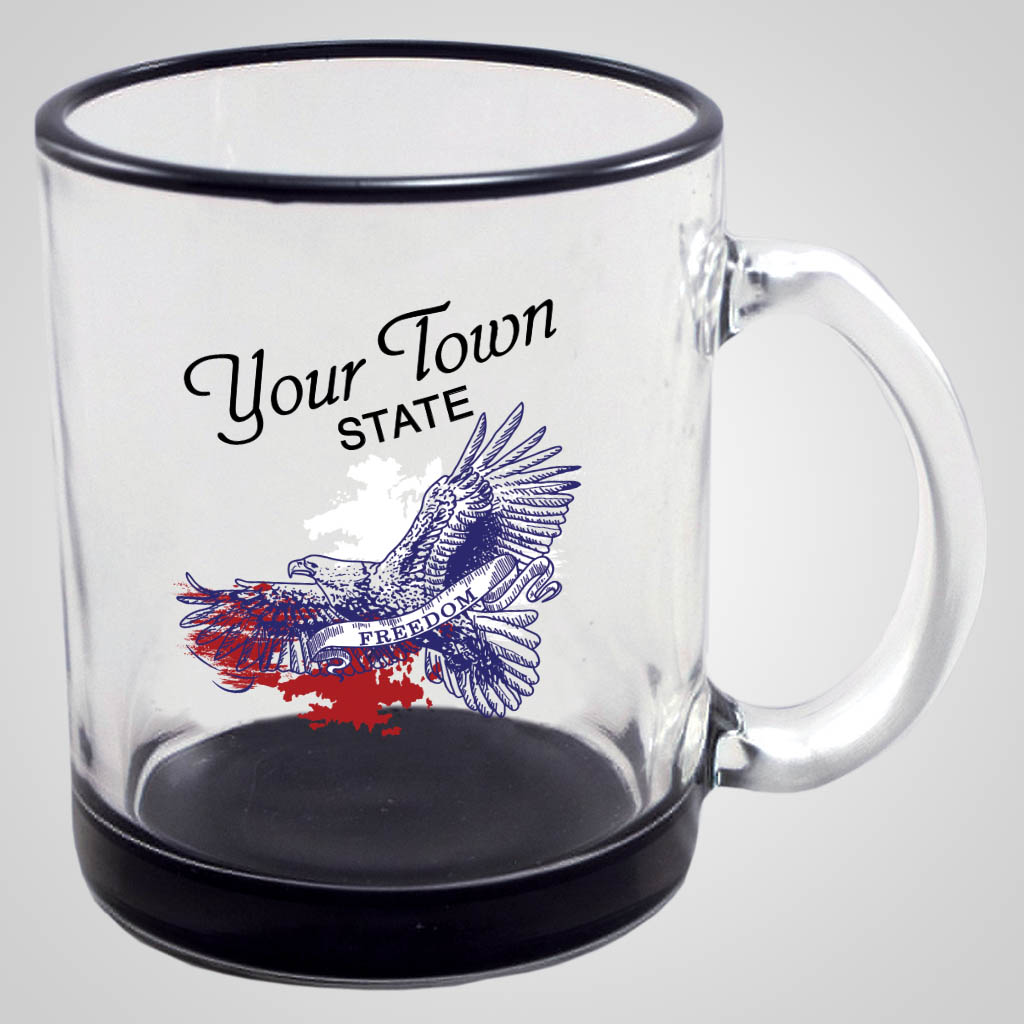 19288PPM - Black Base & Rim Glass Mug, Multi-Color Print