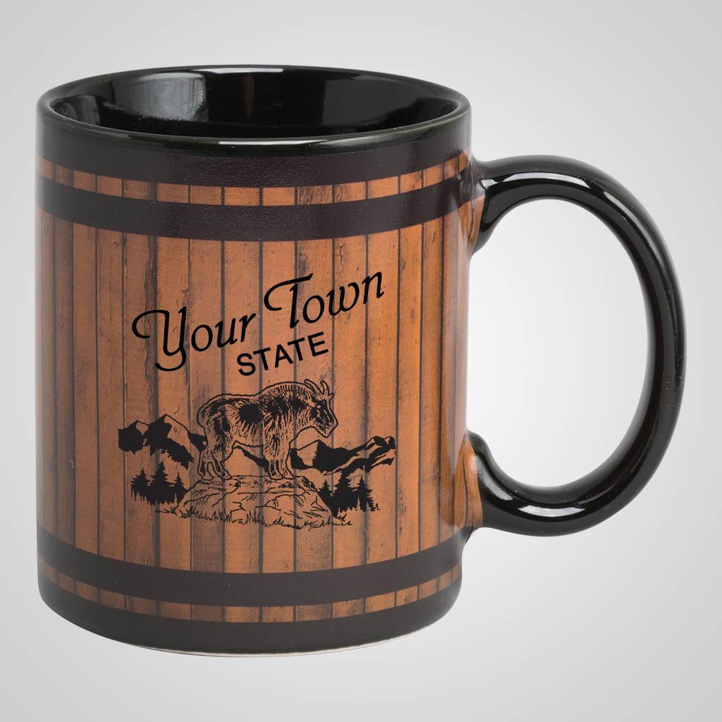 19297PP - Black 'Wood Barrel' Mug