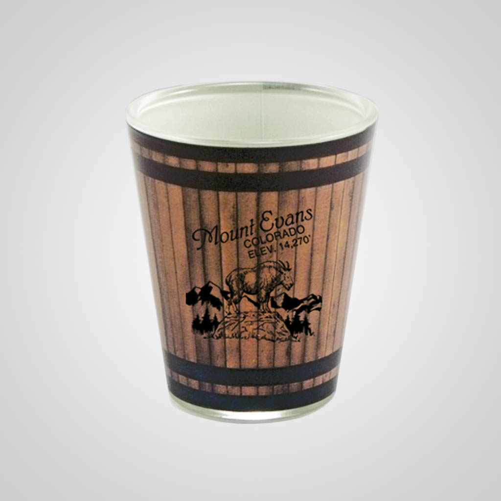19298PP - Wood Barrel Shot Glass, 1 Color Print