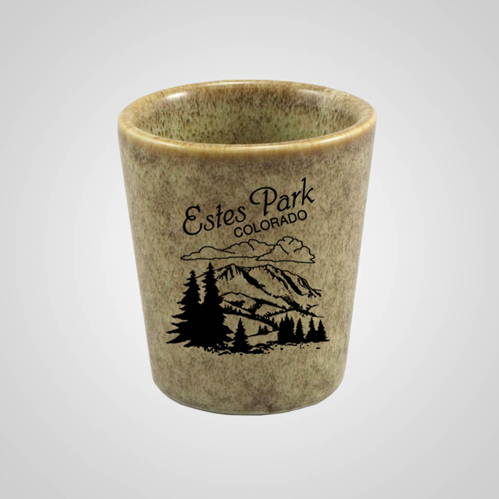 19299PP - Moss Green Glaze Shot Glass, 1 Color Print