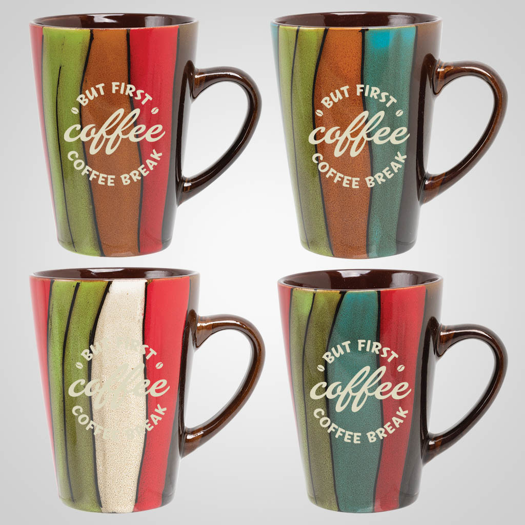 19301PP - Striped Java Mug, 1 Color Print
