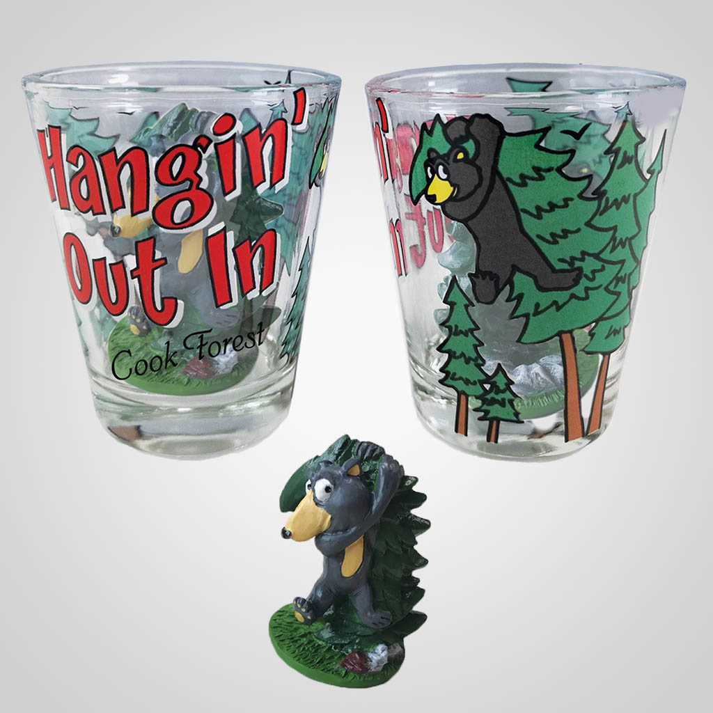19472PP - Hangin' Out Bear Shot Glass, Name-Drop