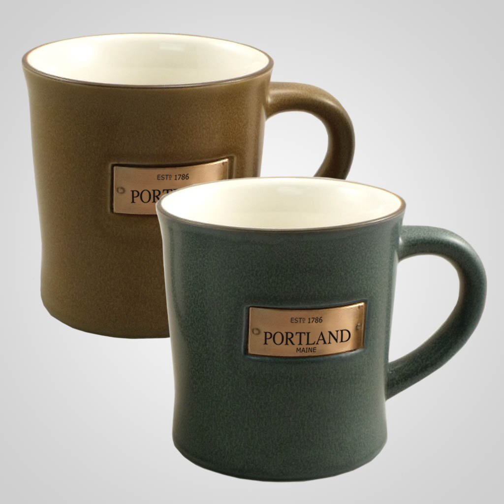 59481CO -  Speckle glaze mug with copper metal name plaque