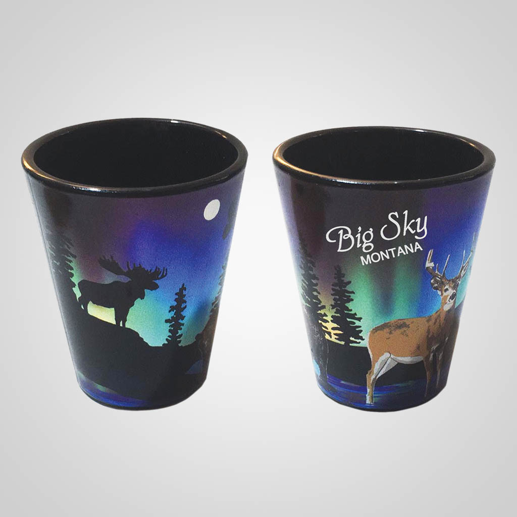 59485ES - Northern Lights Deer Foil Shot Glass, Imprinted