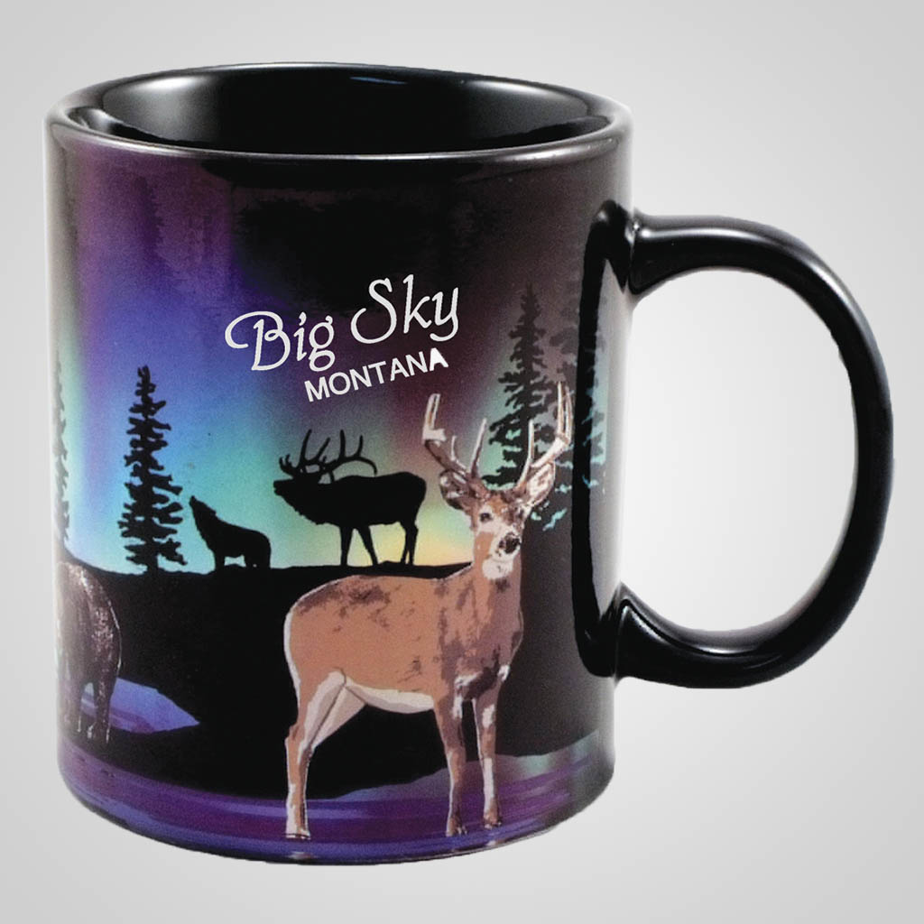 19486PP - Foil Northern Lights Deer Mug, Name-Drop