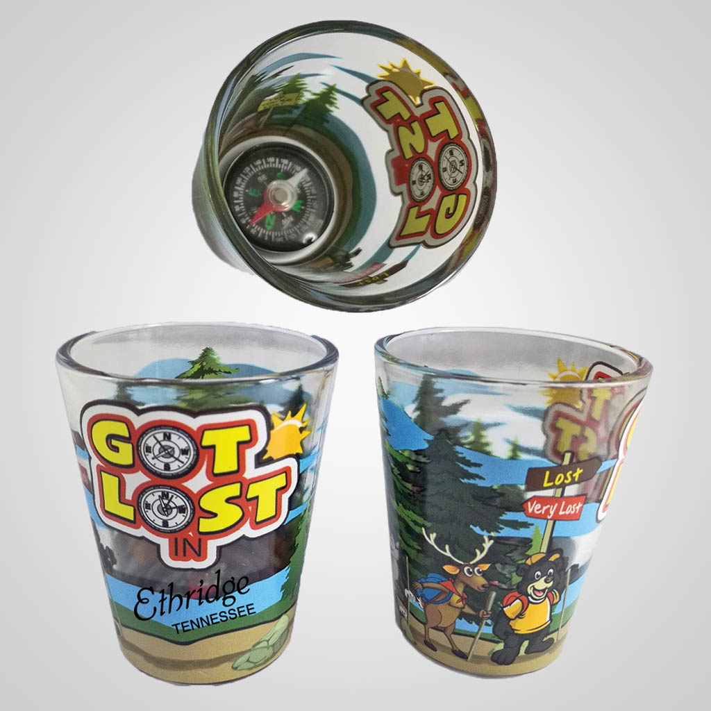 19488PP - Got Lost Shot Glass With Compass, Name-Drop