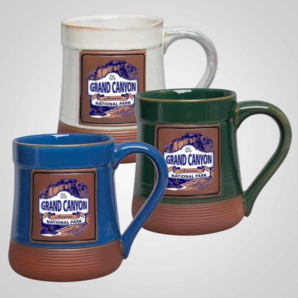 19489PPM - Large Brown Base Pottery Mug, Multi-Color Print
