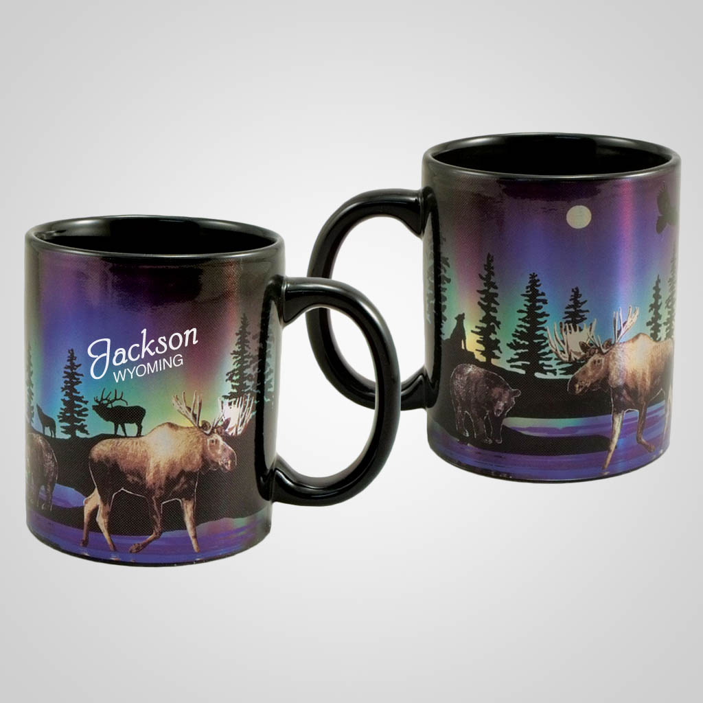 19516PP - Northern Lights Moose Foil Mug, Name-Drop