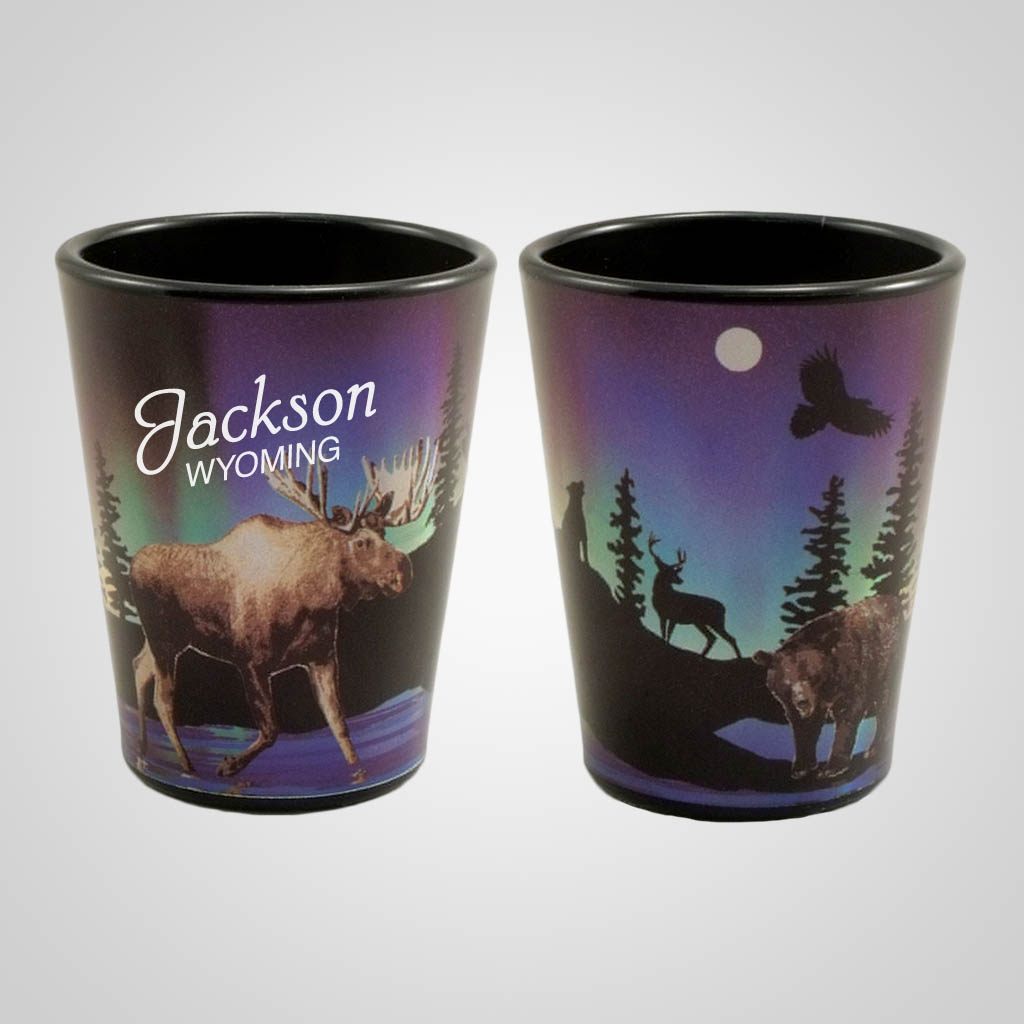 19517PP - Northern Lights Moose Foil Shot Glass, Name-Drop