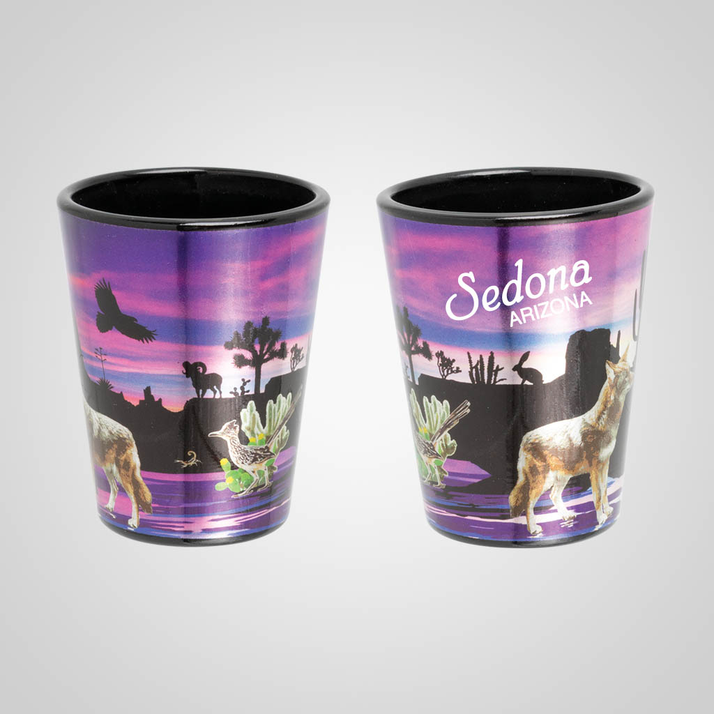 19521PP - Sunset Desert Scene Foil Shot Glass, Name-Drop