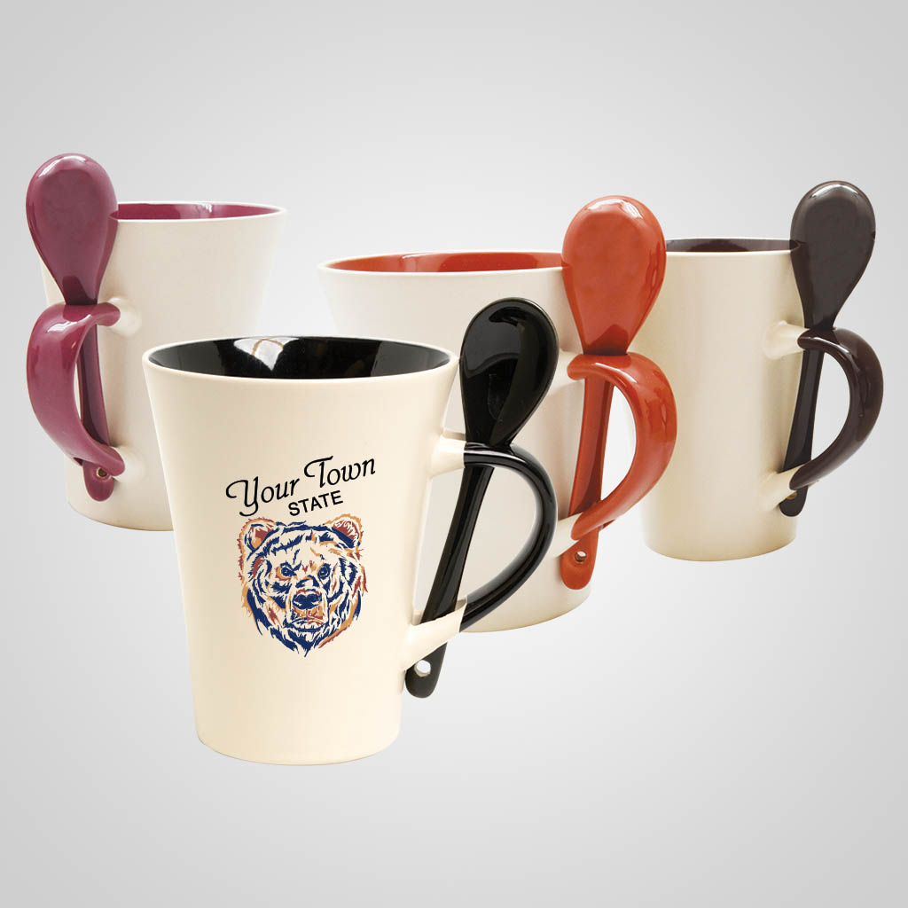 19525PPM - Color-Inside Mug With Spoon, Multi-Color Print