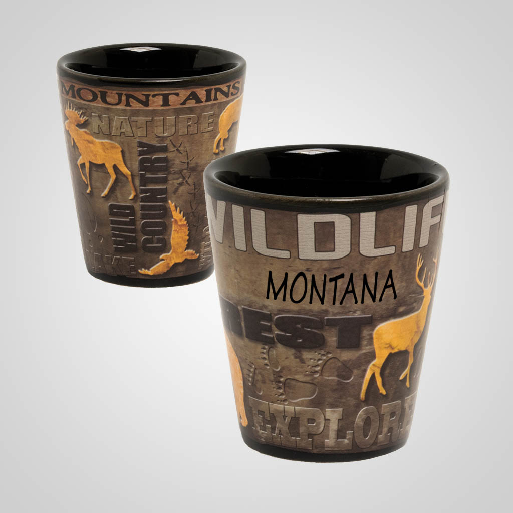 19541PP - Wildlife Full Wrap Shot Glass, Name-Drop