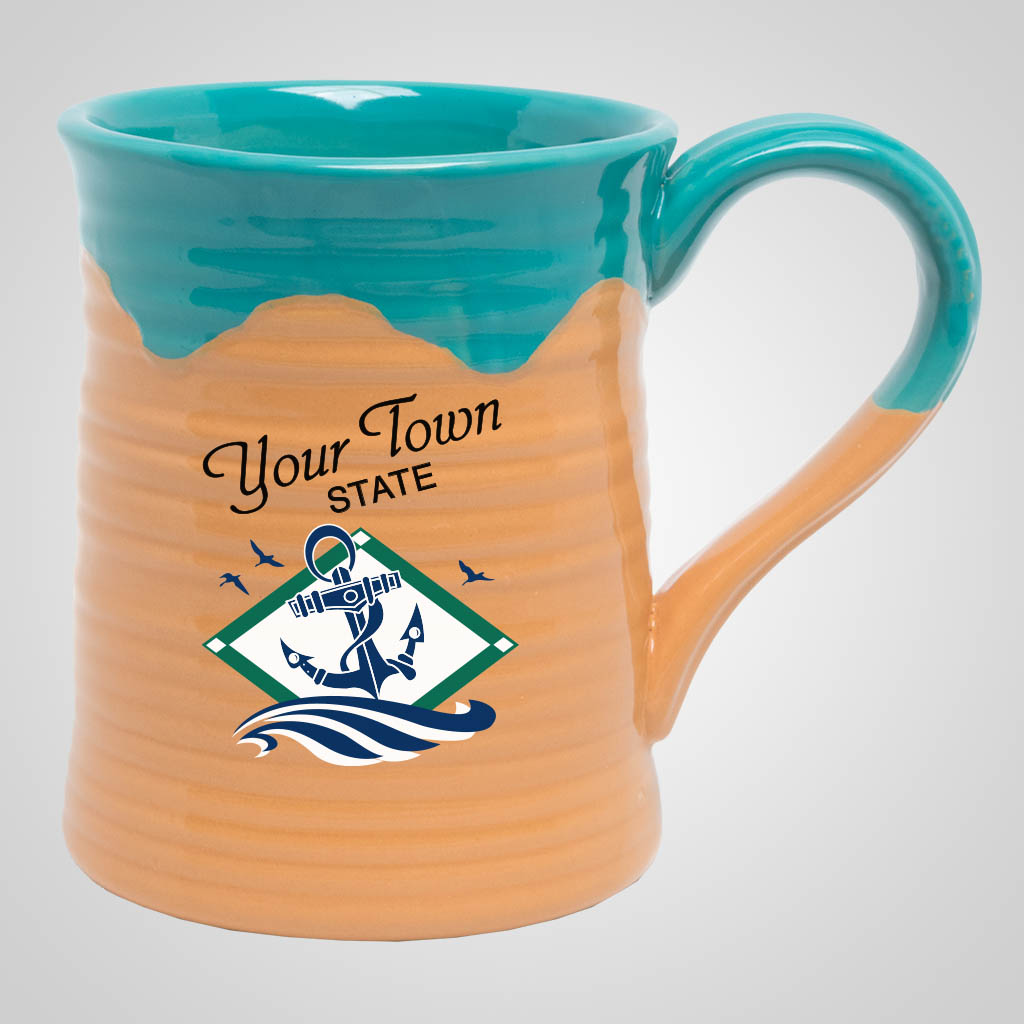19545PPM - Large Two-Tone Pottery Mug, Multi-Color Print