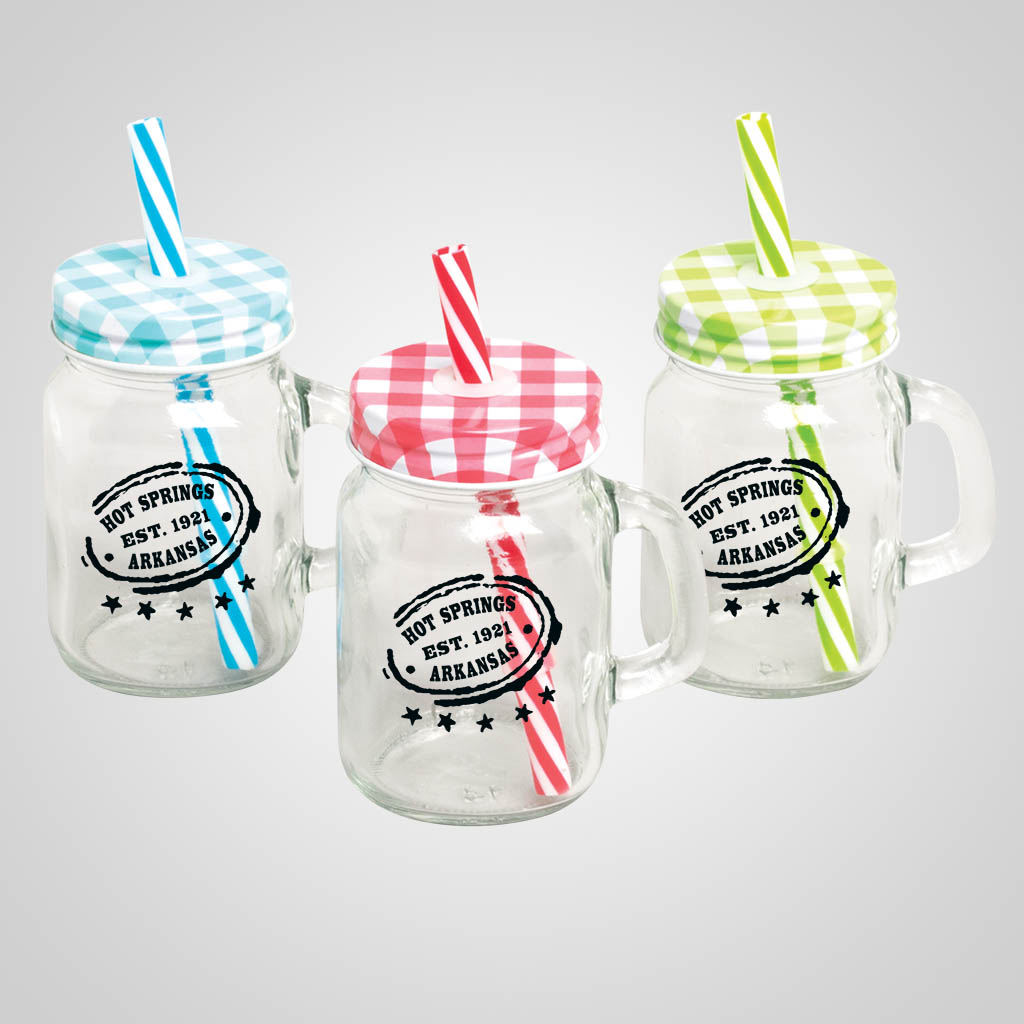 19547PP - Mini Mason Jar with Straw - 1 Color Print