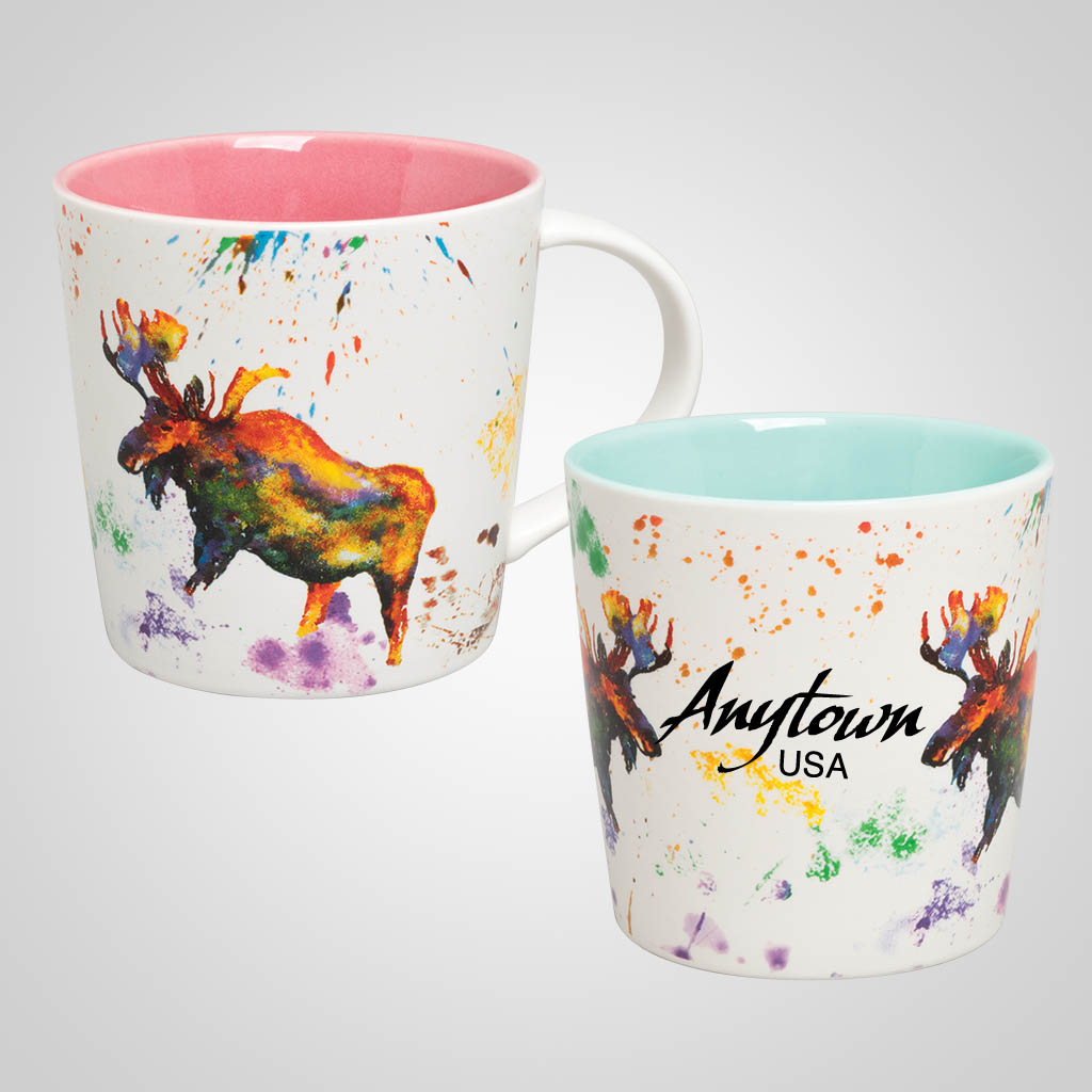 19685PP - Moose Watercolor Wrap Mug, Name-Drop