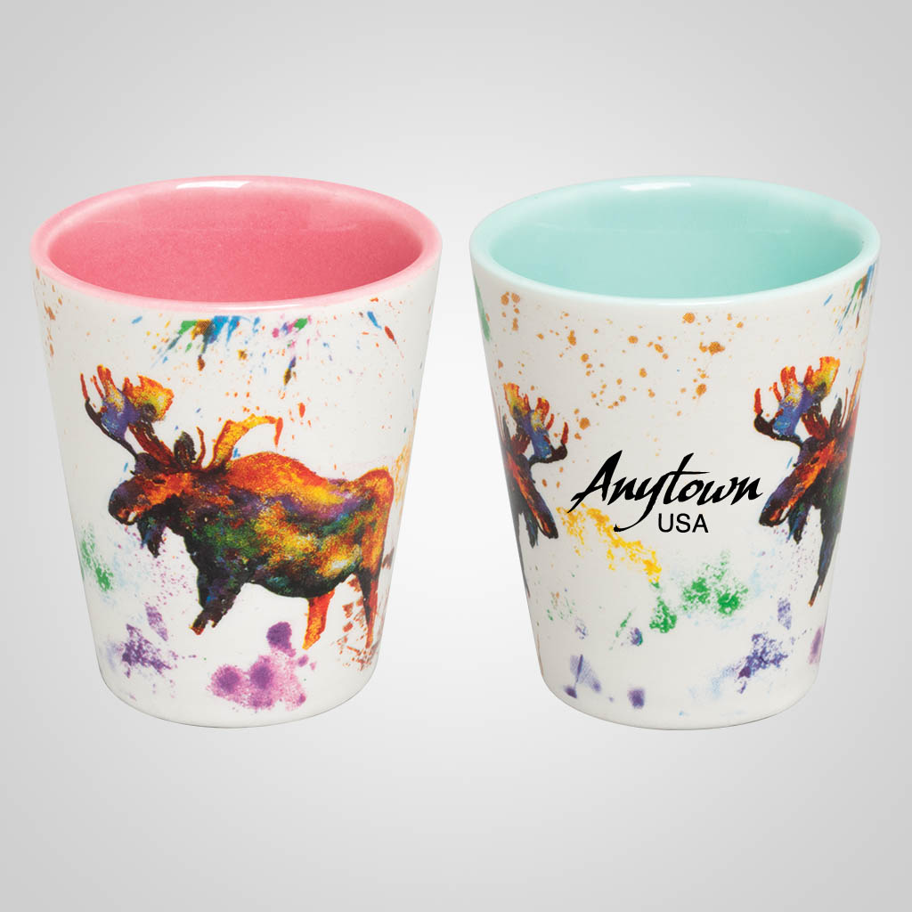 19686PP - Moose Watercolor Wrap Shot Glass, Name-Drop