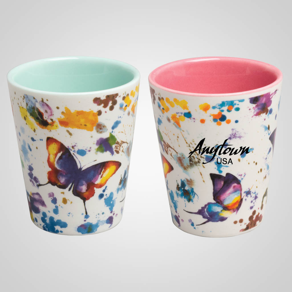 19705PP - Butterfly Watercolor Shot Glass, Name-Drop