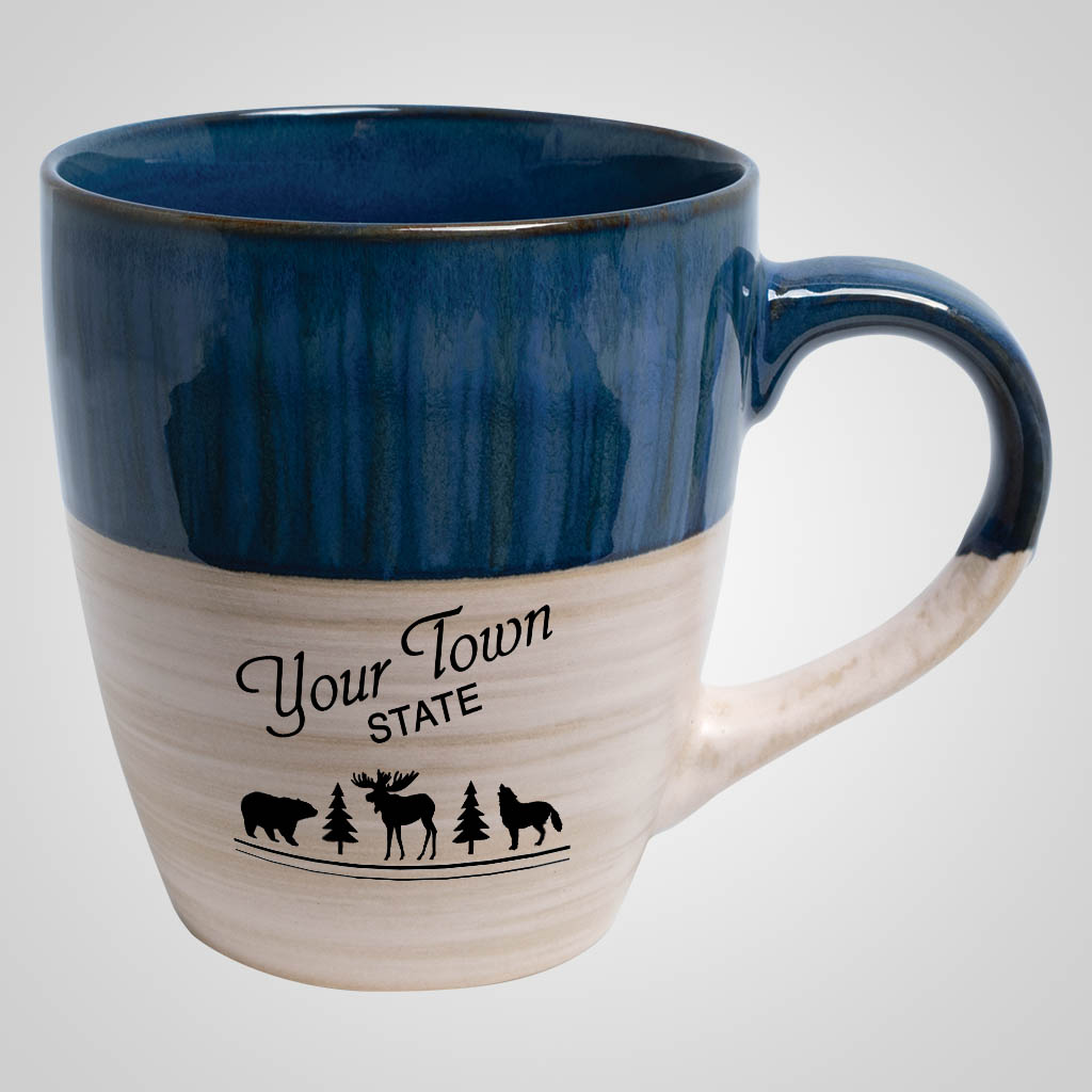 19722PP - Cobalt & Cream Tapered Mug, 1 Color Print