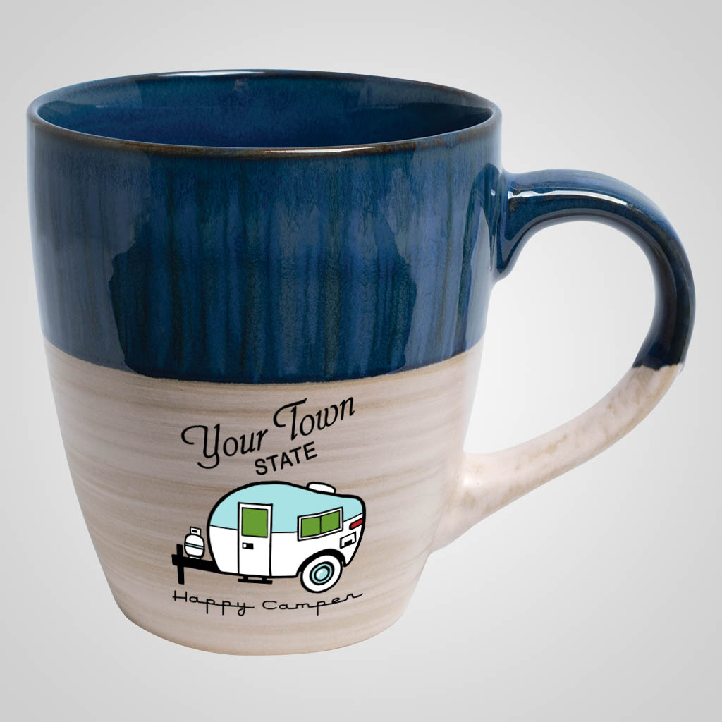 19722PPM - Cobalt & Cream Tapered Mug, Multi Color Print