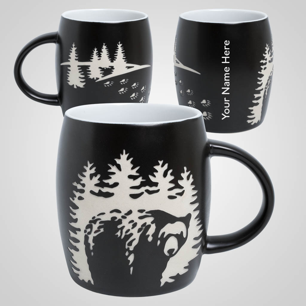 19728PP - Etched Bear Design Barrel Mug, 1 Color Print
