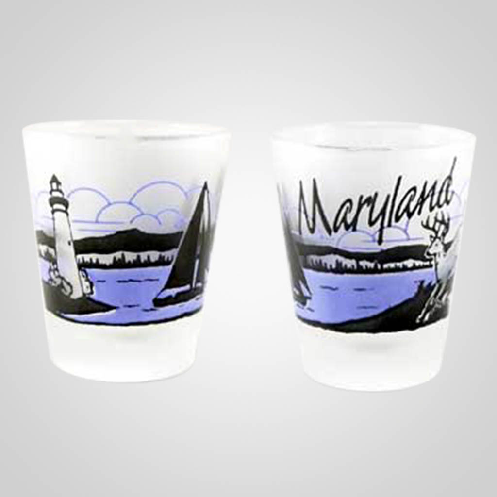 20239MD - Frosted Shot Glass, Maryland