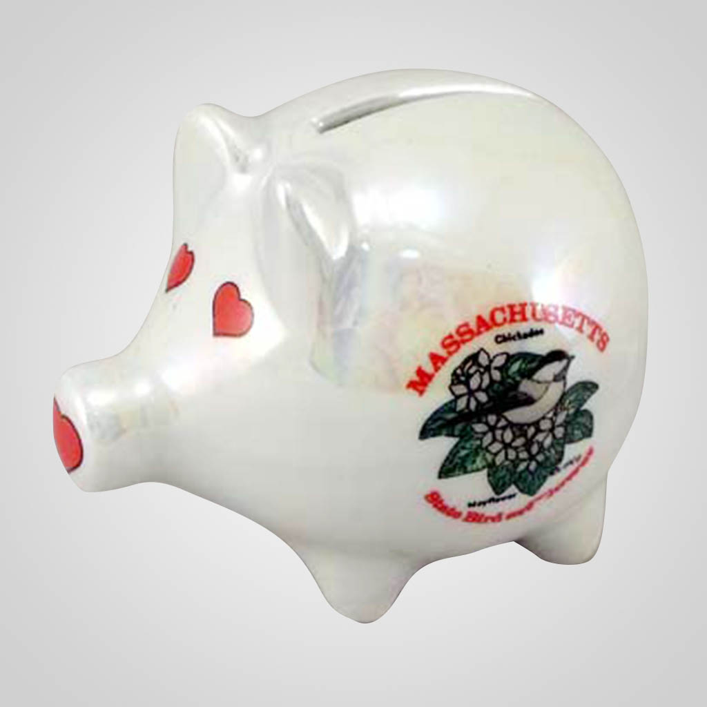 20265MA - Luster Piggy Bank, Massachusetts