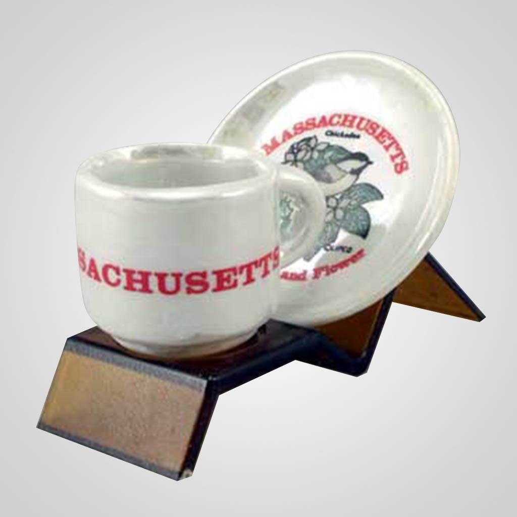 20266MA - Luster Cup & Saucer Set, Massachusetts