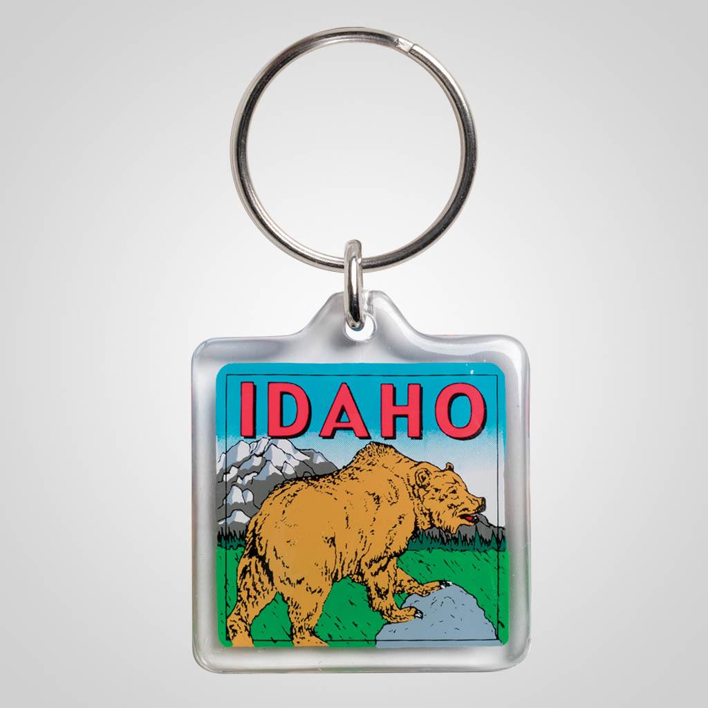 20302ID2 - Square Lucite Keychain, Idaho Bear