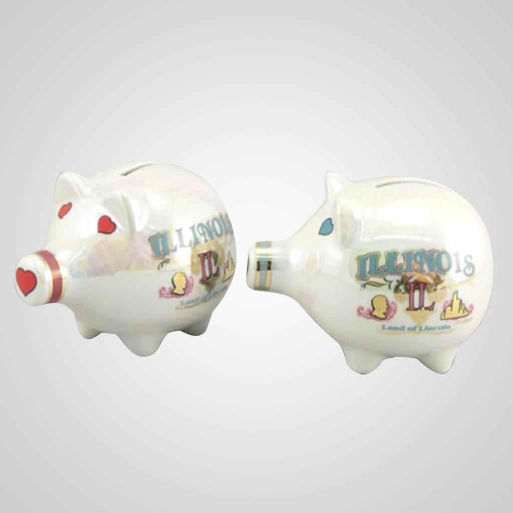 20476IL - Lustre Glaze Piggy Bank, Illinois
