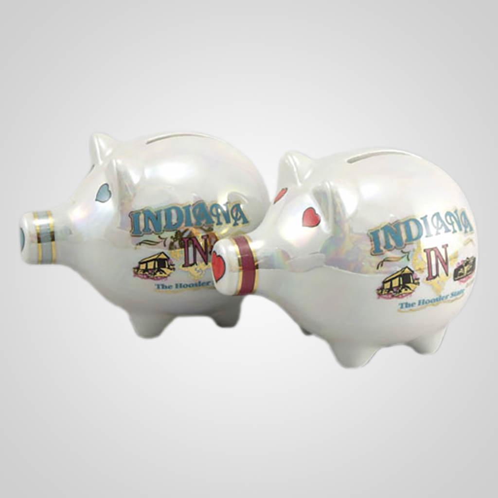 20476IN - Lustre Glaze Piggy Bank, Indiana