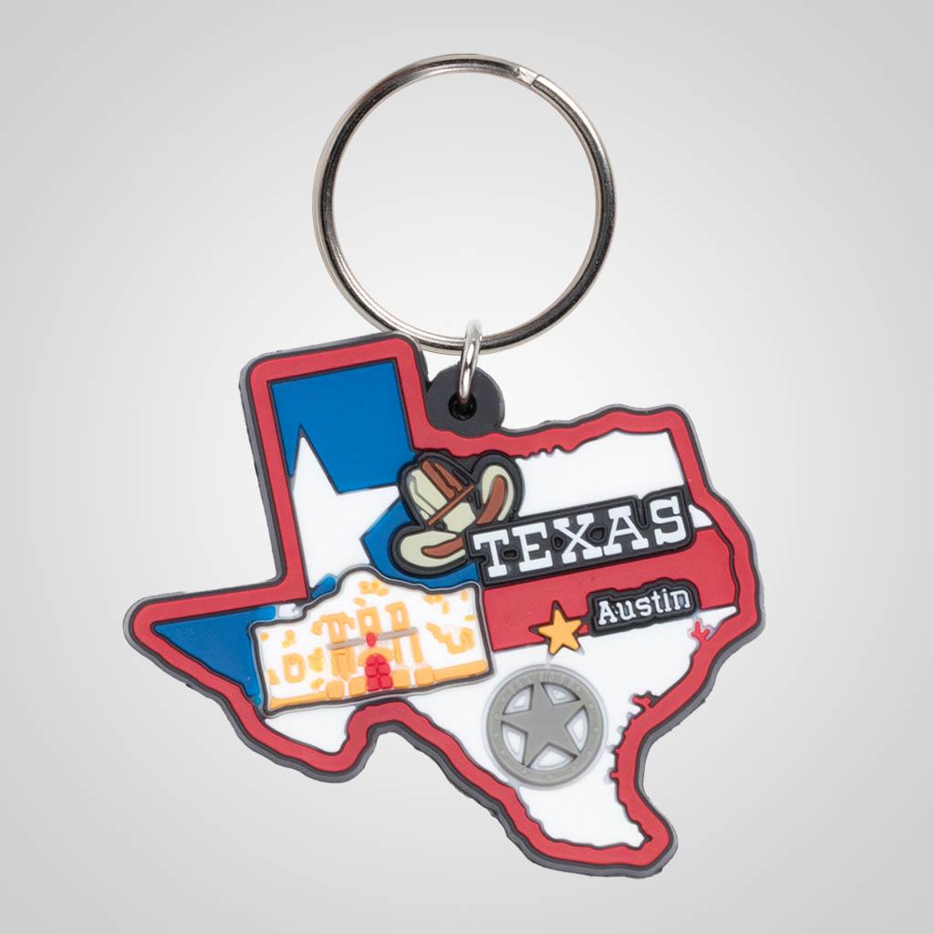 21595TX - Soft PVC State Keychain, Texas