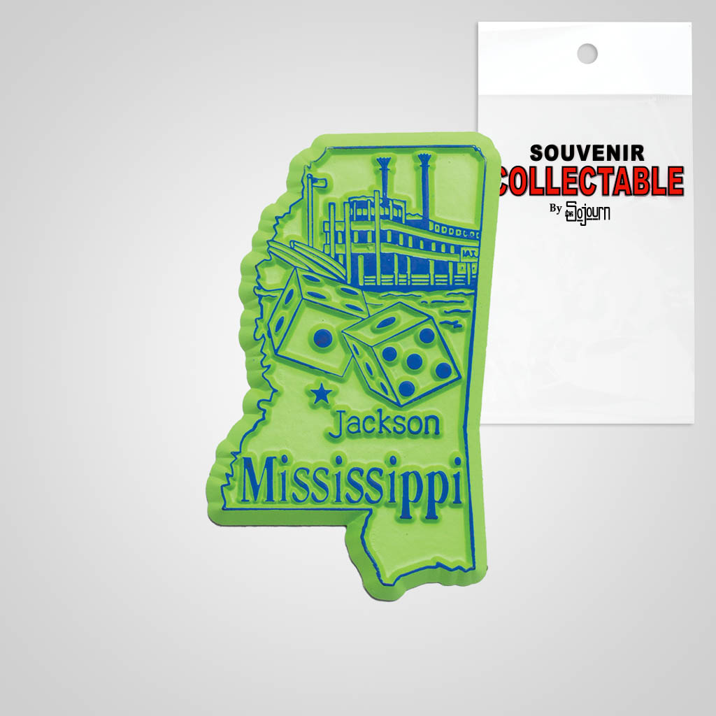 22321MS - 2-Color State Magnet, Mississippi, Bagged