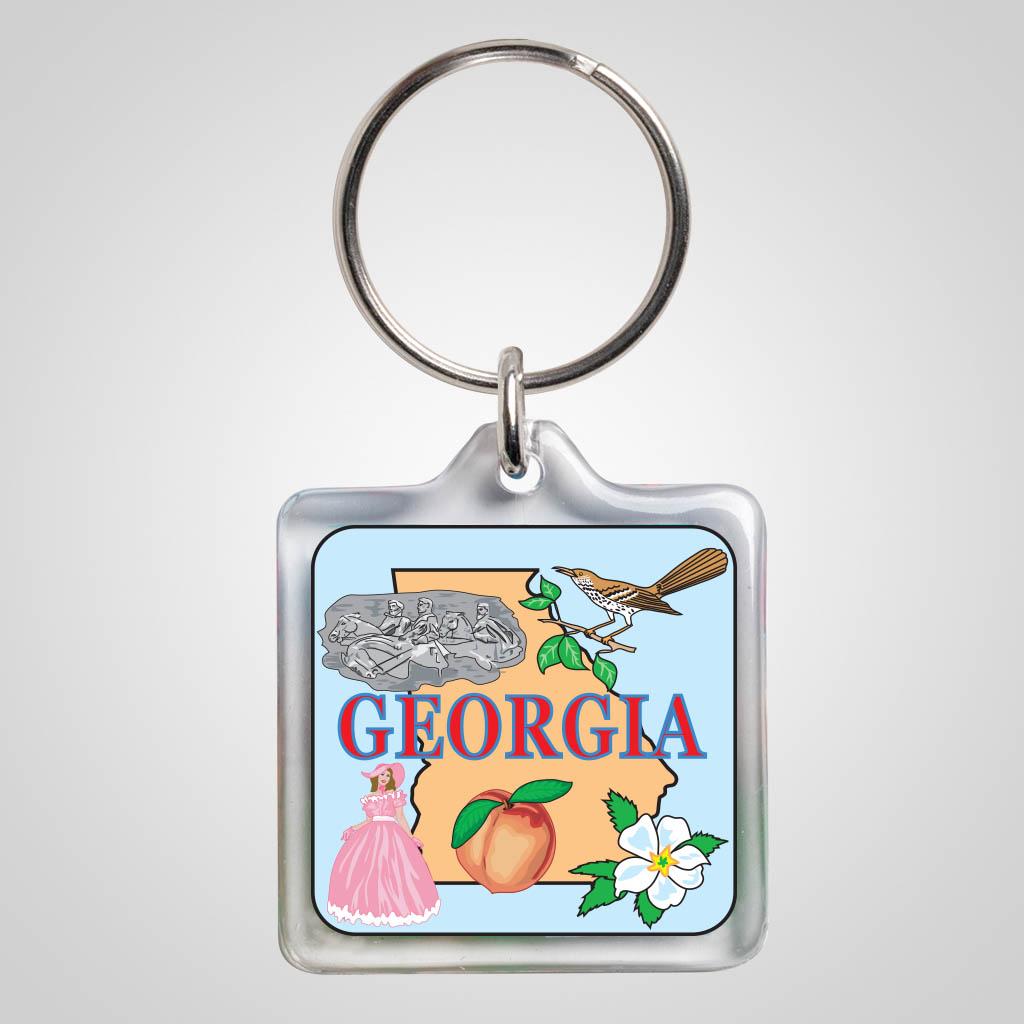 22344GA - Square Lucite Keychain, Georgia