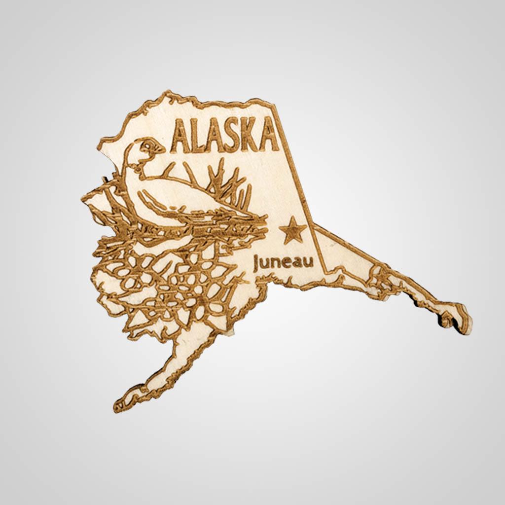 22470AK - Laser Cut Wood Magnet, Alaska