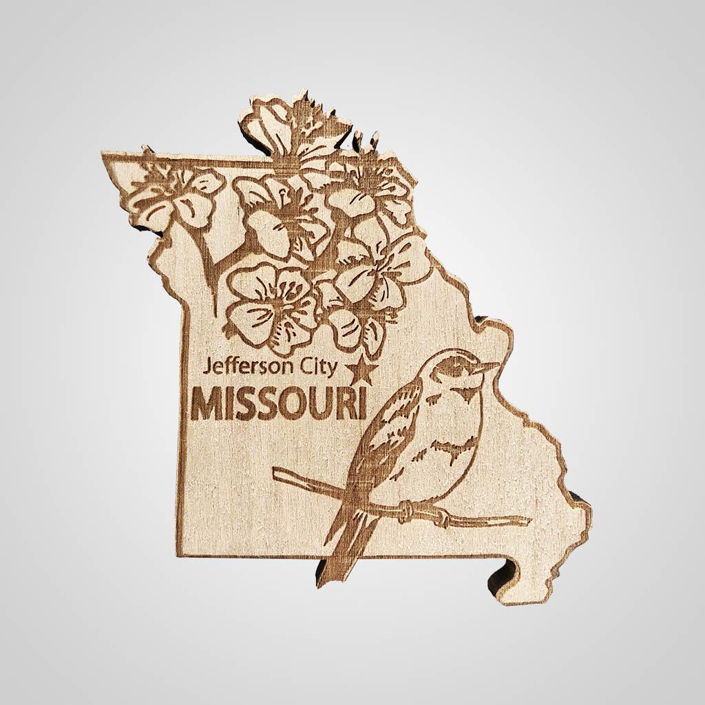 22470MO - Laser Cut Wood Magnet, Missouri