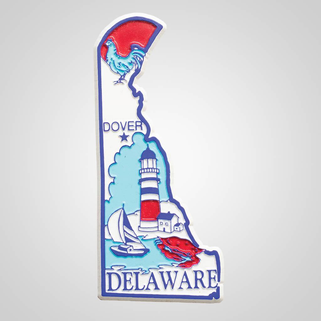 3-500DE - Delaware Map 4-Color Magnet