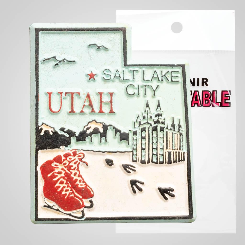 3-525UT - Utah Map 4-Color Magnet, Bagged