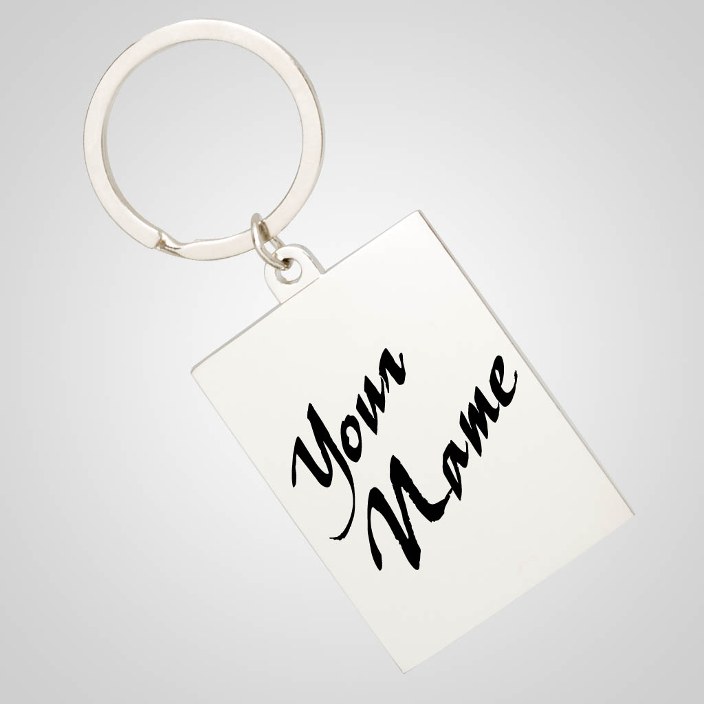 40007 - Rectangular Chrome Keychain, Name-Drop