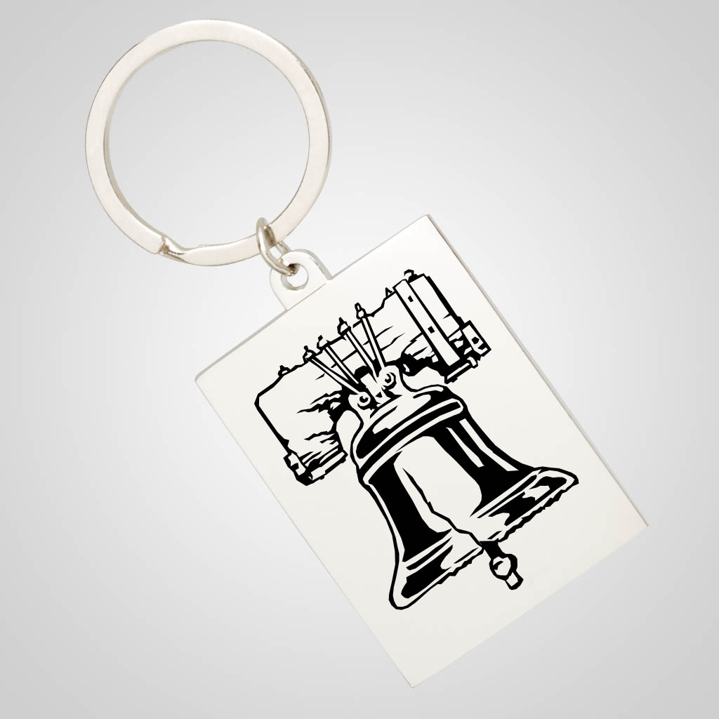 40007JP - Rectangular Chrome Keychain, 1 Color
