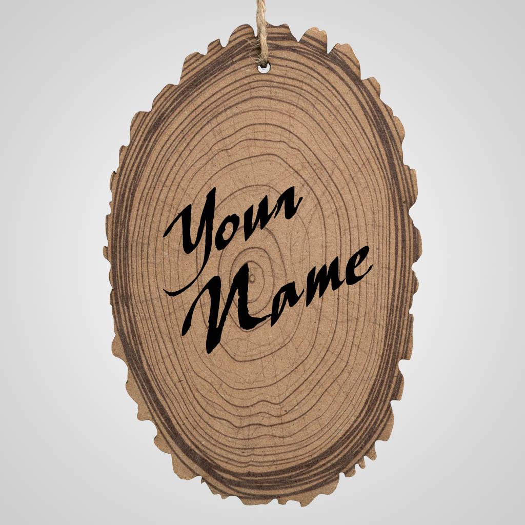 40017 - Wood Slice Ornament, Name-Drop