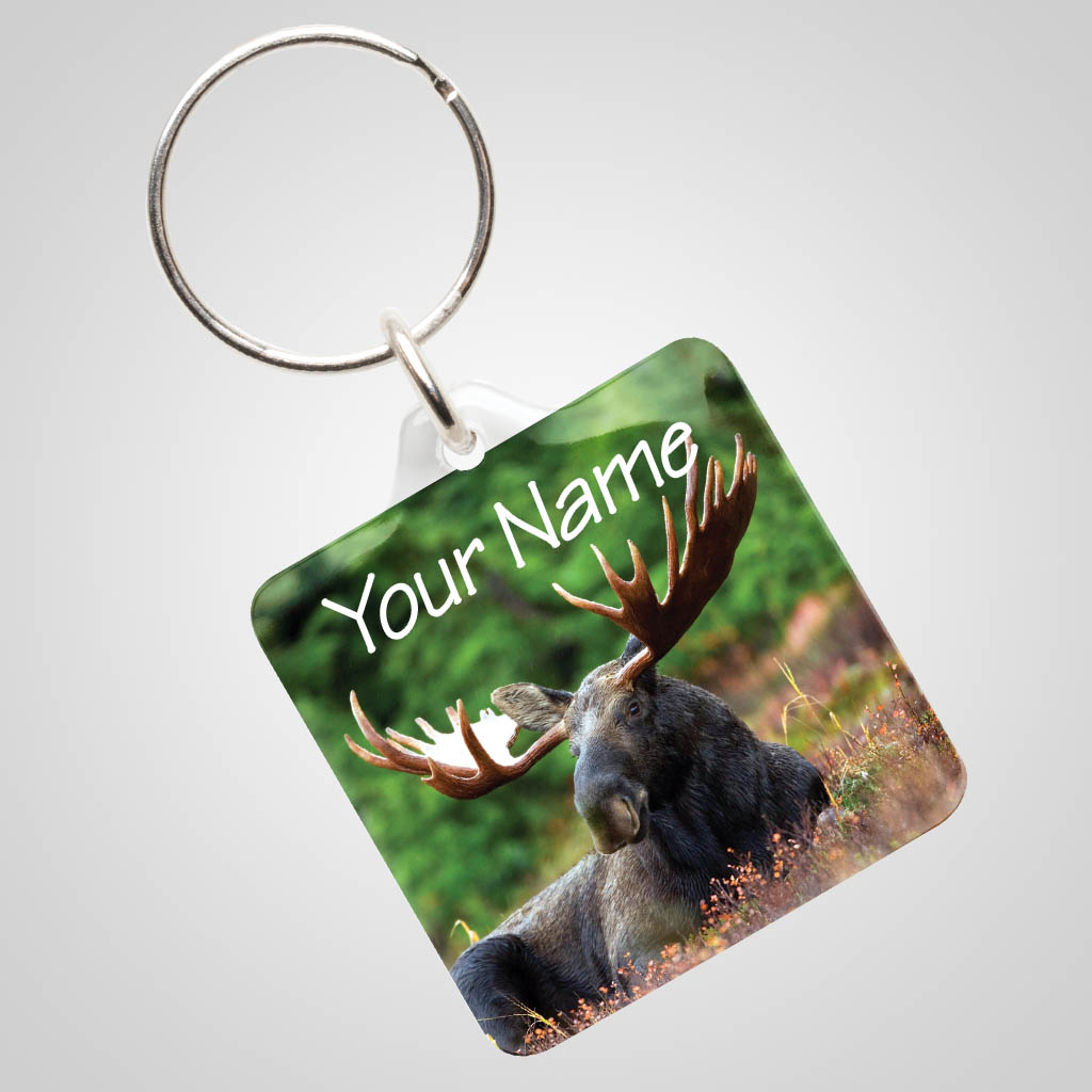 40027MOO - Clear Acrylic Keychain With Moose