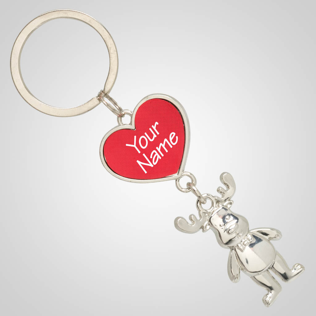 40040 - Heart & Moose Keychain, Name-Drop
