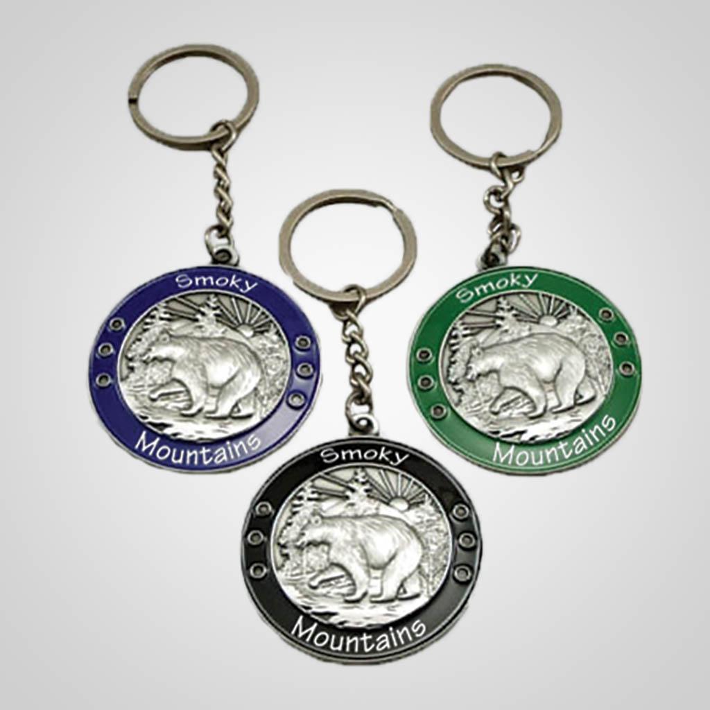 40042 - Round Metal Bear 'Medal' Keychain, Name-Drop