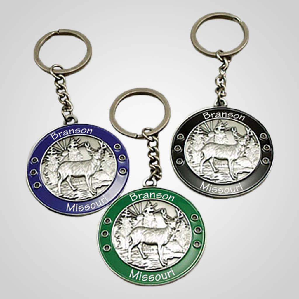 40043 - Round Metal Deer 'Medal' Keychain, Name-Drop