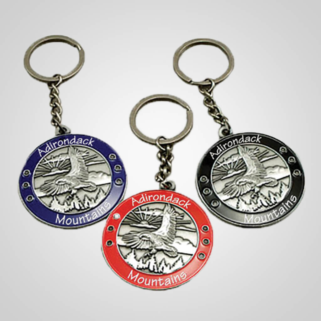 40044 - Round Metal Eagle 'Medal' Keychain, Name-Drop