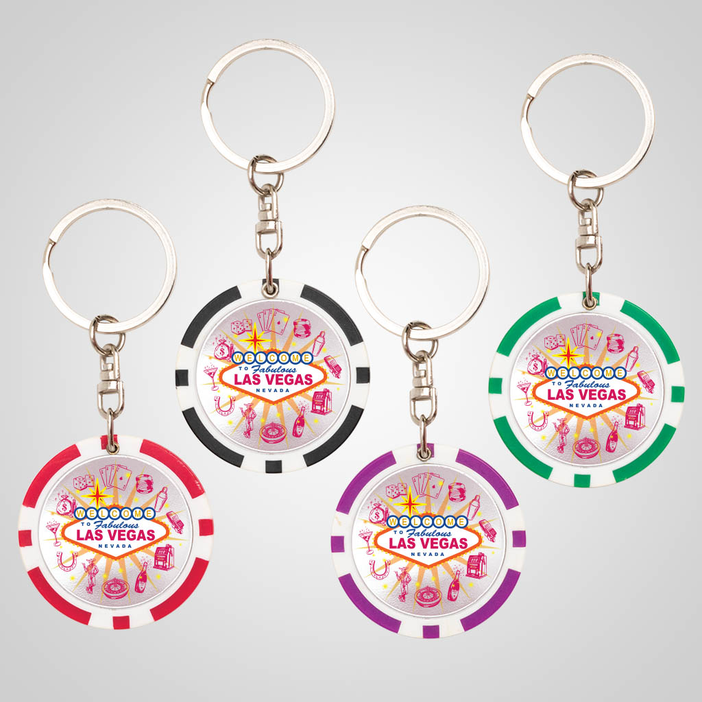 40057JPM - Poker Chip Keychain, Multi-Color