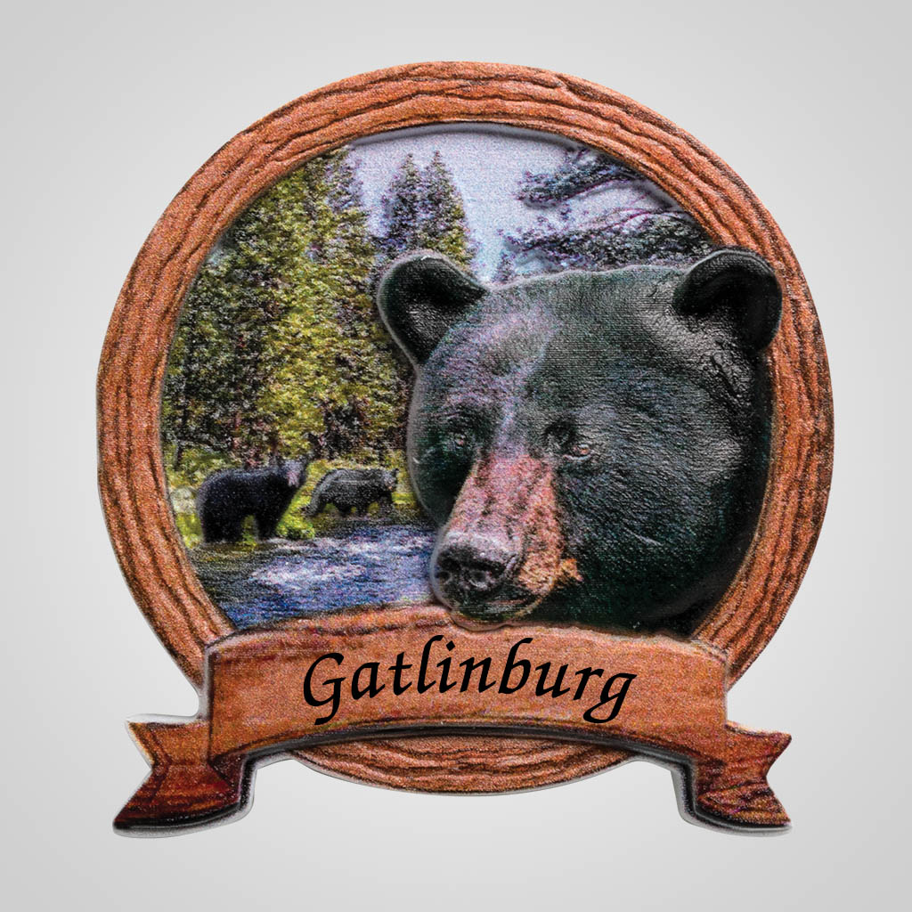 40070 - Bear In Wood Frame Magnet, Name-Drop