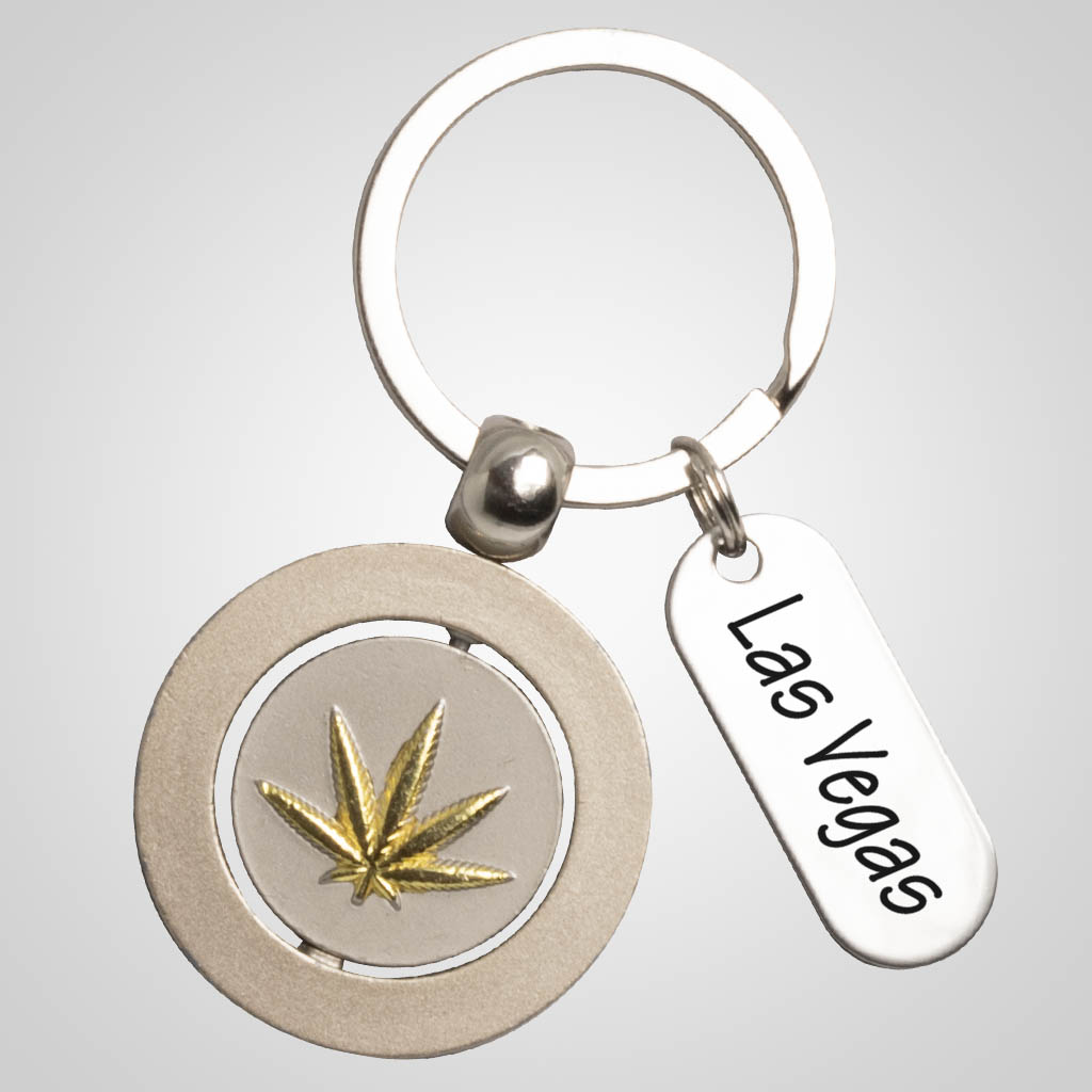 40072 - Pot Leaf Spinner Keychain, Name-Drop